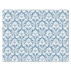 White On Light Blue Damask Jigsaw Puzzle (rectangle)