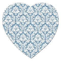 White On Light Blue Damask Jigsaw Puzzle (Heart)