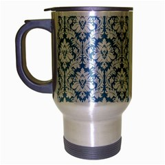 White On Light Blue Damask Travel Mug (Silver Gray)