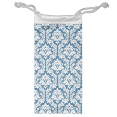 White On Light Blue Damask Jewelry Bag