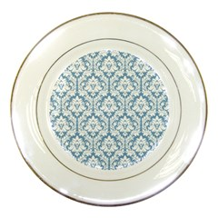 White On Light Blue Damask Porcelain Display Plate