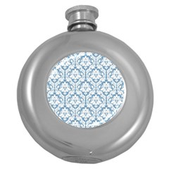 White On Light Blue Damask Hip Flask (round)
