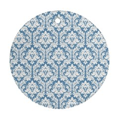 White On Light Blue Damask Round Ornament (Two Sides)