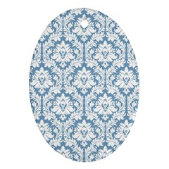 White On Light Blue Damask Oval Ornament (Two Sides)