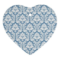 White On Light Blue Damask Heart Ornament (Two Sides)