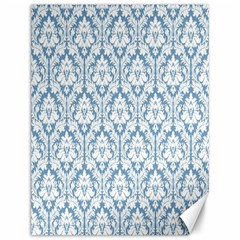 White On Light Blue Damask Canvas 12  x 16  (Unframed)