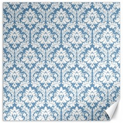 White On Light Blue Damask Canvas 20  X 20  (unframed)