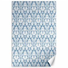 White On Light Blue Damask Canvas 24  x 36  (Unframed)