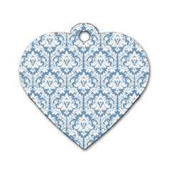 White On Light Blue Damask Dog Tag Heart (Two Sided)