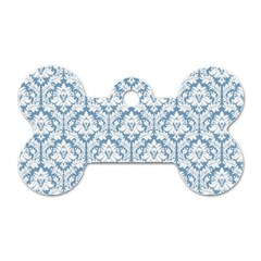 White On Light Blue Damask Dog Tag Bone (two Sided)
