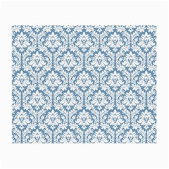 White On Light Blue Damask Glasses Cloth (small, Two Sided)