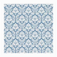 White On Light Blue Damask Glasses Cloth (Medium, Two Sided)