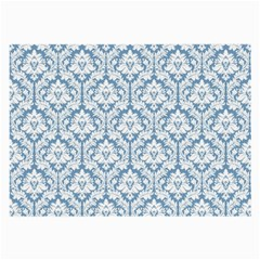 White On Light Blue Damask Glasses Cloth (large, Two Sided)