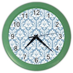 White On Light Blue Damask Wall Clock (Color)