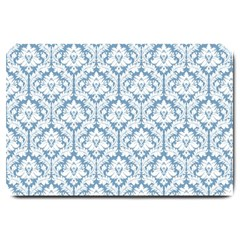 White On Light Blue Damask Large Door Mat