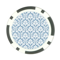 White On Light Blue Damask Poker Chip