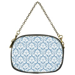 White On Light Blue Damask Chain Purse (one Side)
