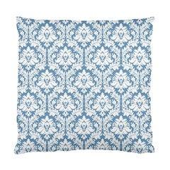 White On Light Blue Damask Cushion Case (Single Sided)
