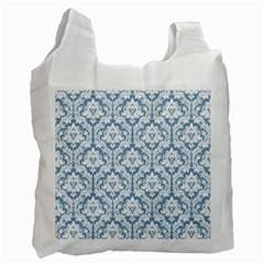 White On Light Blue Damask White Reusable Bag (One Side)