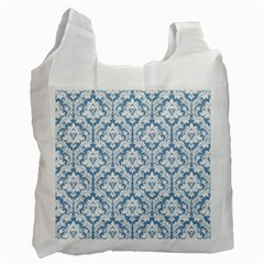 White On Light Blue Damask White Reusable Bag (two Sides)