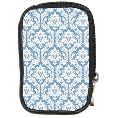 White On Light Blue Damask Compact Camera Leather Case