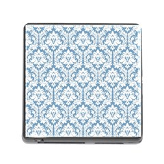 White On Light Blue Damask Memory Card Reader with Storage (Square)