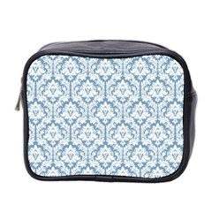 White On Light Blue Damask Mini Travel Toiletry Bag (Two Sides)