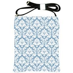 White On Light Blue Damask Shoulder Sling Bag