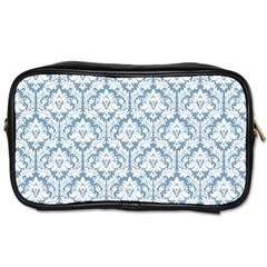 White On Light Blue Damask Travel Toiletry Bag (One Side)