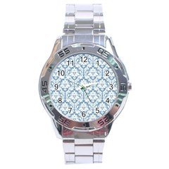 White On Light Blue Damask Stainless Steel Watch