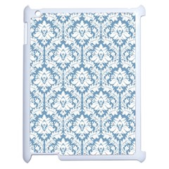 White On Light Blue Damask Apple iPad 2 Case (White)