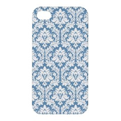 White On Light Blue Damask Apple Iphone 4/4s Hardshell Case