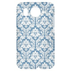 White On Light Blue Damask HTC Desire HD Hardshell Case