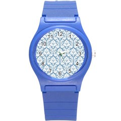 White On Light Blue Damask Plastic Sport Watch (Small)