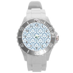 White On Light Blue Damask Plastic Sport Watch (Large)