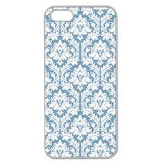 White On Light Blue Damask Apple Seamless Iphone 5 Case (clear)