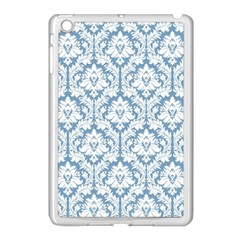 White On Light Blue Damask Apple iPad Mini Case (White)