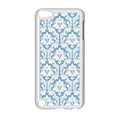 White On Light Blue Damask Apple iPod Touch 5 Case (White)
