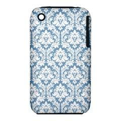 White On Light Blue Damask Apple Iphone 3g/3gs Hardshell Case (pc+silicone)