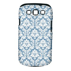 White On Light Blue Damask Samsung Galaxy S III Classic Hardshell Case (PC+Silicone)