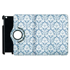 White On Light Blue Damask Apple iPad 2 Flip 360 Case