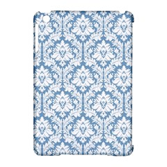 White On Light Blue Damask Apple iPad Mini Hardshell Case (Compatible with Smart Cover)
