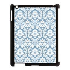 White On Light Blue Damask Apple iPad 3/4 Case (Black)