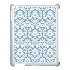 White On Light Blue Damask Apple Ipad 3/4 Case (white)