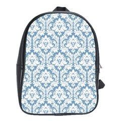 White On Light Blue Damask School Bag (xl)