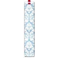 White On Light Blue Damask Large Bookmark