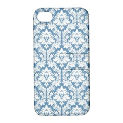 White On Light Blue Damask Apple Iphone 4/4s Hardshell Case With Stand