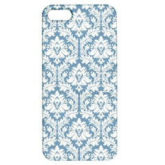 White On Light Blue Damask Apple iPhone 5 Hardshell Case with Stand