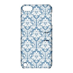 White On Light Blue Damask Apple Ipod Touch 5 Hardshell Case With Stand
