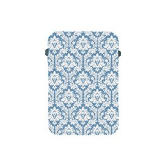 White On Light Blue Damask Apple iPad Mini Protective Sleeve